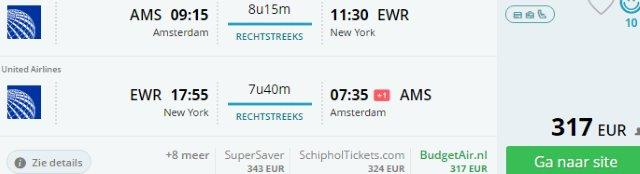 Cheap flights from Amsterdam to New York for €317!