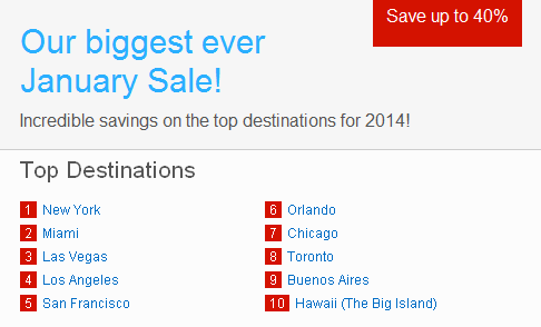 Hotels.com promotion in January 2014 - up to 40% discount off booking!