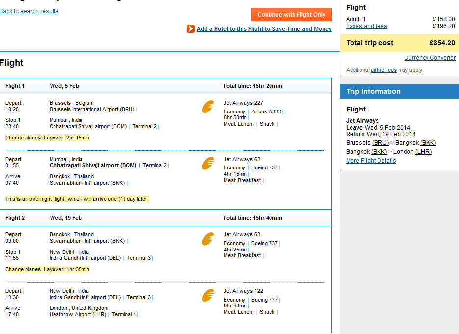 Cheap open jaw flights to Thailand: Brussels - Bangkok - London 354!