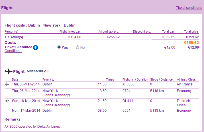 Cheap Non Stop Flights From Ireland To New York From 359