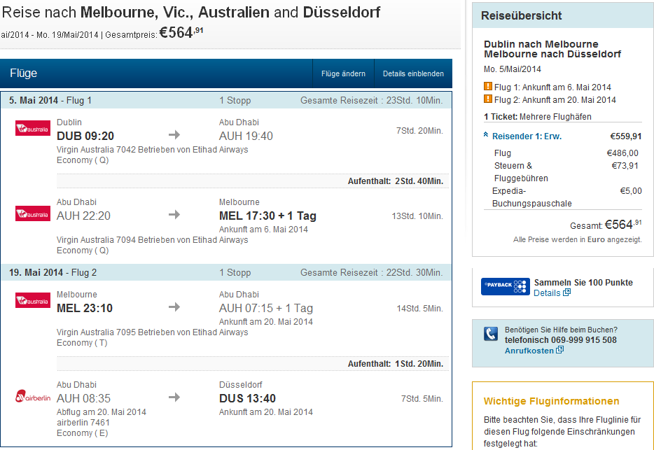 Tips for cheap open jaw flights from Europe Dublin Germany to Australia Sydney Melbourne 564