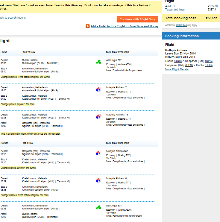 Cheap flights from Ireland to Bali from €532 throughout 2014!