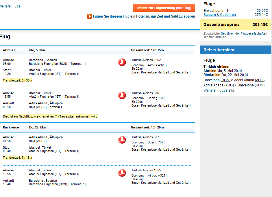 Turkish Airlines: Spain to Ethiopia €301, India €338, Nepal €359 etc..!