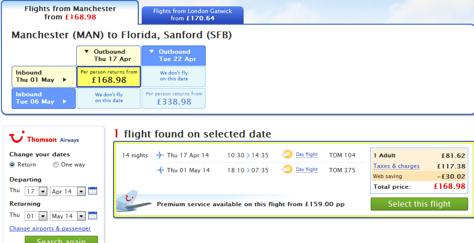 Cheap flights from UK to USA - Florida from Ł169/€204!