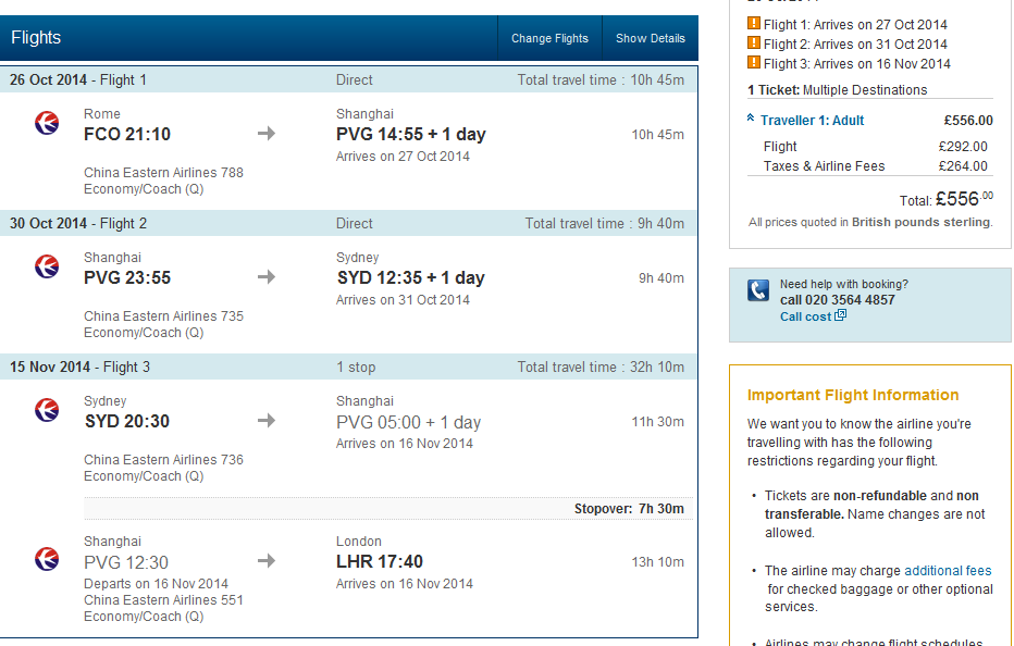 Multi-city flights Rome - Shanghai - Sydney - London for Ł556 (€685)!!