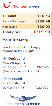 Tips for cheap flights from UK London to Africa Kenya Mombasa 220