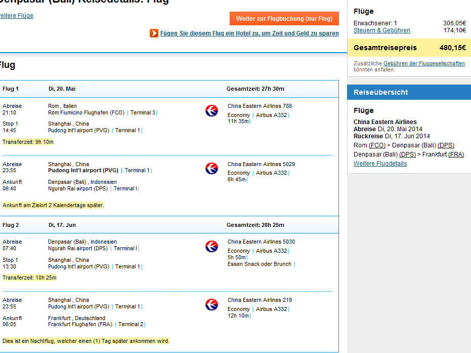 Cheap open jaw flights to Asia: Rome – Bali – Frankfurt €480!