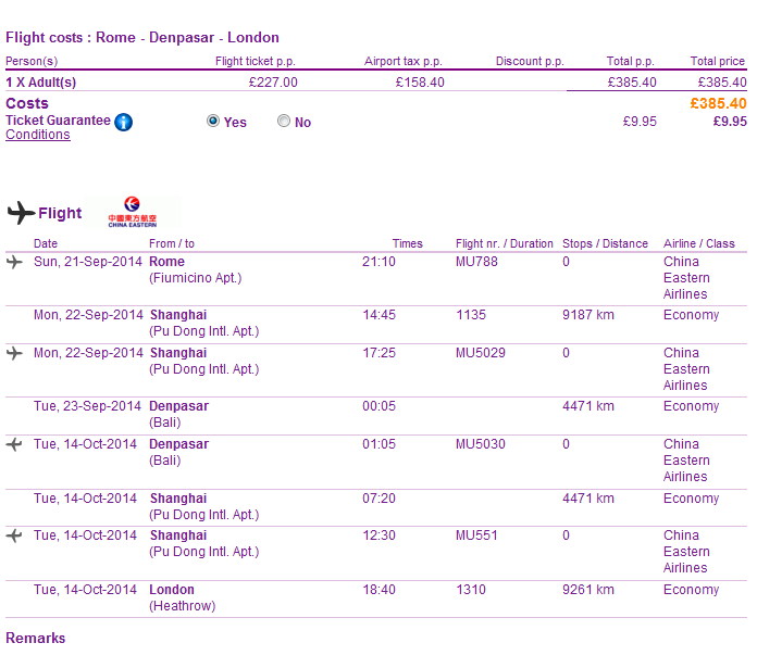 Cheap open jaw flights to Asia: Rome - Bali - London for Ł383 (€456)!
