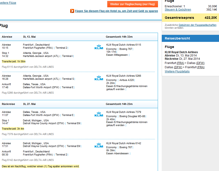 WOW with KLM/Air France - flights to Dallas from Germany €422!