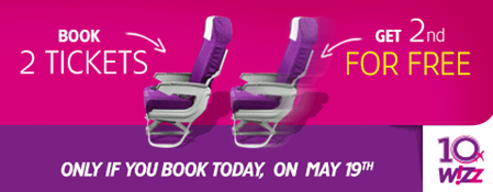 Wizzair promotion: 2nd booked seat for free!