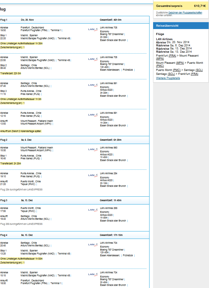 Amazing! Chile and Falkland Islands from Germany for €611!!
