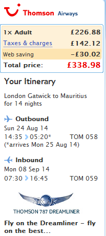 Cheap roundtrip flights to Mauritius from London Ł339 (€423)!