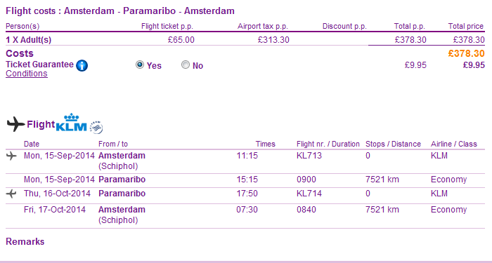 Roundtrip non-stop flights to Paramaribo, Suriname Ł378 or €480!