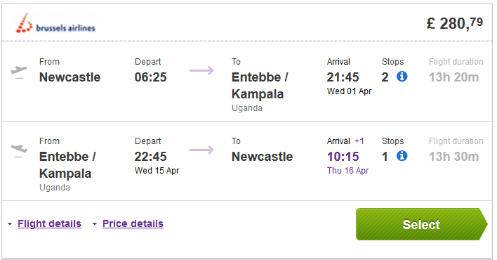 Cheap roundtrip flights to Uganda or Rwanda from UK from Ł281 (€354)!
