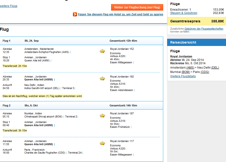 Cheap open-jaw flights to India from Europe from €356!