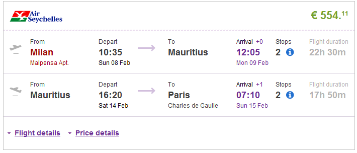 Open-jaw flights to Mauritius from Europe from €554!