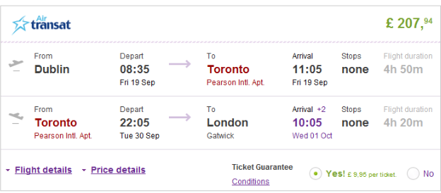 Cheap open jaw flights to Toronto (return UK) from Ł208 (€263)!!