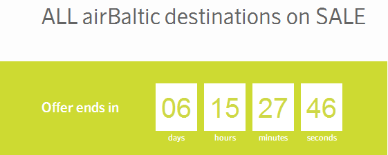 AirBaltic promotional sale 2014 winter season 2015 disocunted flights from Europe to Baltic