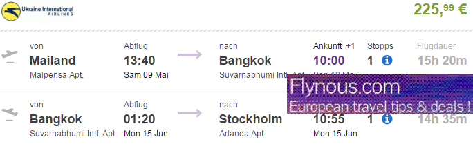 Cheap open-jaw flights to Bangkok from Europe from €226!