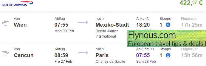 Cheap open jaw flights to Mexico + America from Europe Ł333/€423!