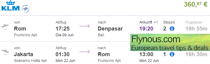 Fly from Rome to Bali and return from Jakarta already for €360/Ł267!