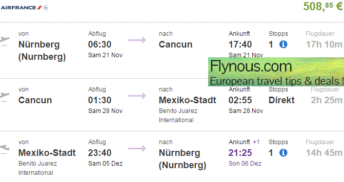 Multi city flights to Mexico (Cancun + Mexico City) from Germany €509!