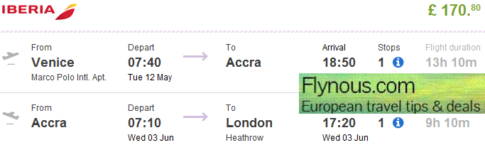 Ghana - open jaw flights Europe - Accra - London from £171 (€230)!
