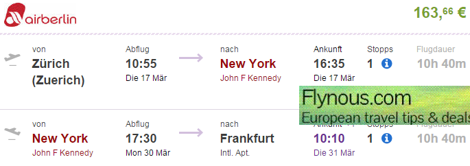Error fare flights to new york from europe from 163 for Cost of plane ticket to germany