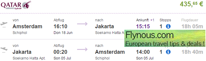 Return flights from Amsterdam to Jakarta €435 or Bali €543!
