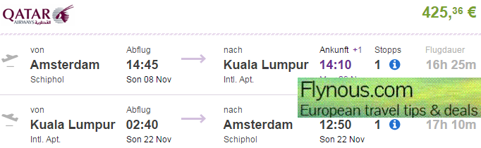 Cheap return flights to Kuala Lumpur from Europe from €425!