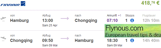 Return flights from Germany or UK to China (Chongqing) €418 or £395!