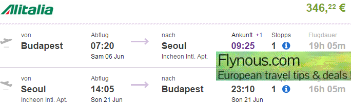 Cheap return flighs to Seoul, South Korea from Europe from €346/£279!