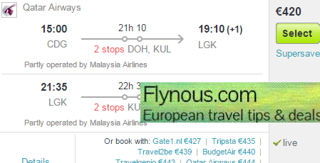 Cheap return flights to Langkawi/Penang from €420 (main season 2016)!