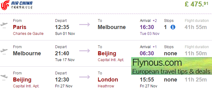 Multi-city flights Paris - Australia - China - London from £475!