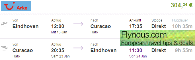 Non-stop flights from Netherlands to Curacao €304 (main season 2016!)