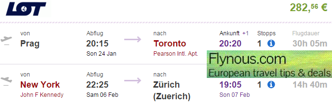 LOT: open jaw flights to North America (Toronto, New York) from €282!