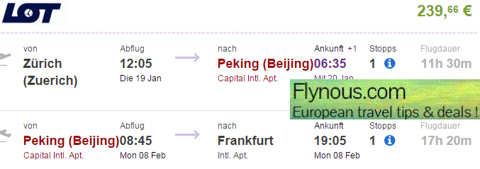 Open-jaw flights Zurich - Beijing - London/Germany/Benelux from €240!
