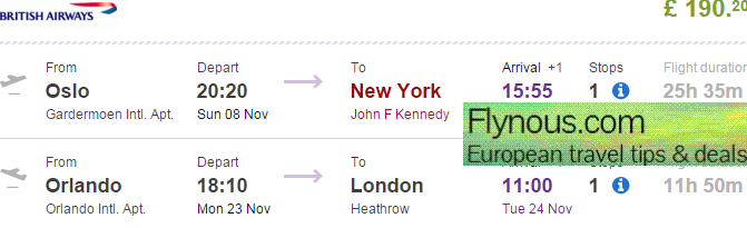 British Airways - cheap open jaw flights to USA (New York, Florida) £190!