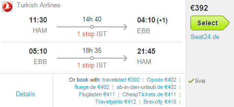 Turkish Airlines - return flights from Europe to Uganda from €392!