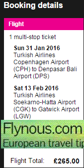 Cheap open jaw flights to Indonesia (return to UK) £275!