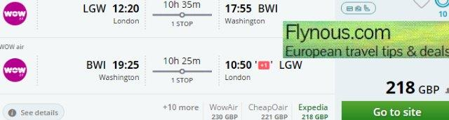 Cheap return flights to Boston or Washington from €280 or £218!