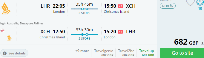 Return flights from London to Christmas Island for £682! (+ Australia)