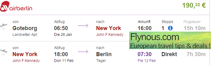 Error fare flights to New York from Europe from €190!