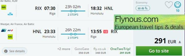 Error fare return flights from Europe to Hawaii from €291/£344!