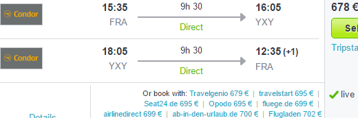 Cheap direct flights from Germany to Yukon, Canada from €678!