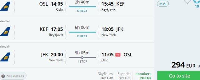 Cheap multi-city flights to New York & Iceland from €294 or £307!