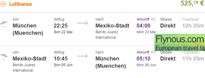 Lufthansa: Direct flights from Gemany to Mexico City €525!