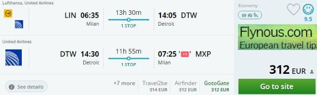 Round trip flights from Europe to Detroit from €312!