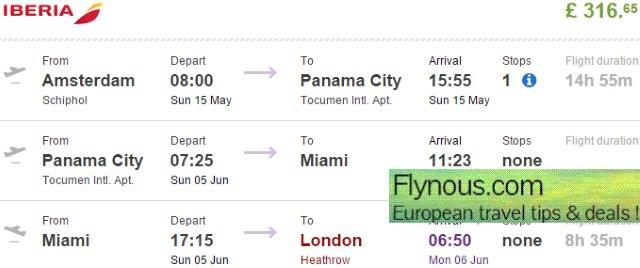 Panama: open jaw flights from Europe return to London £316!
