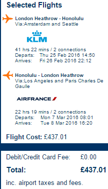 Cheap return flights from London to Hawaii from £437!
